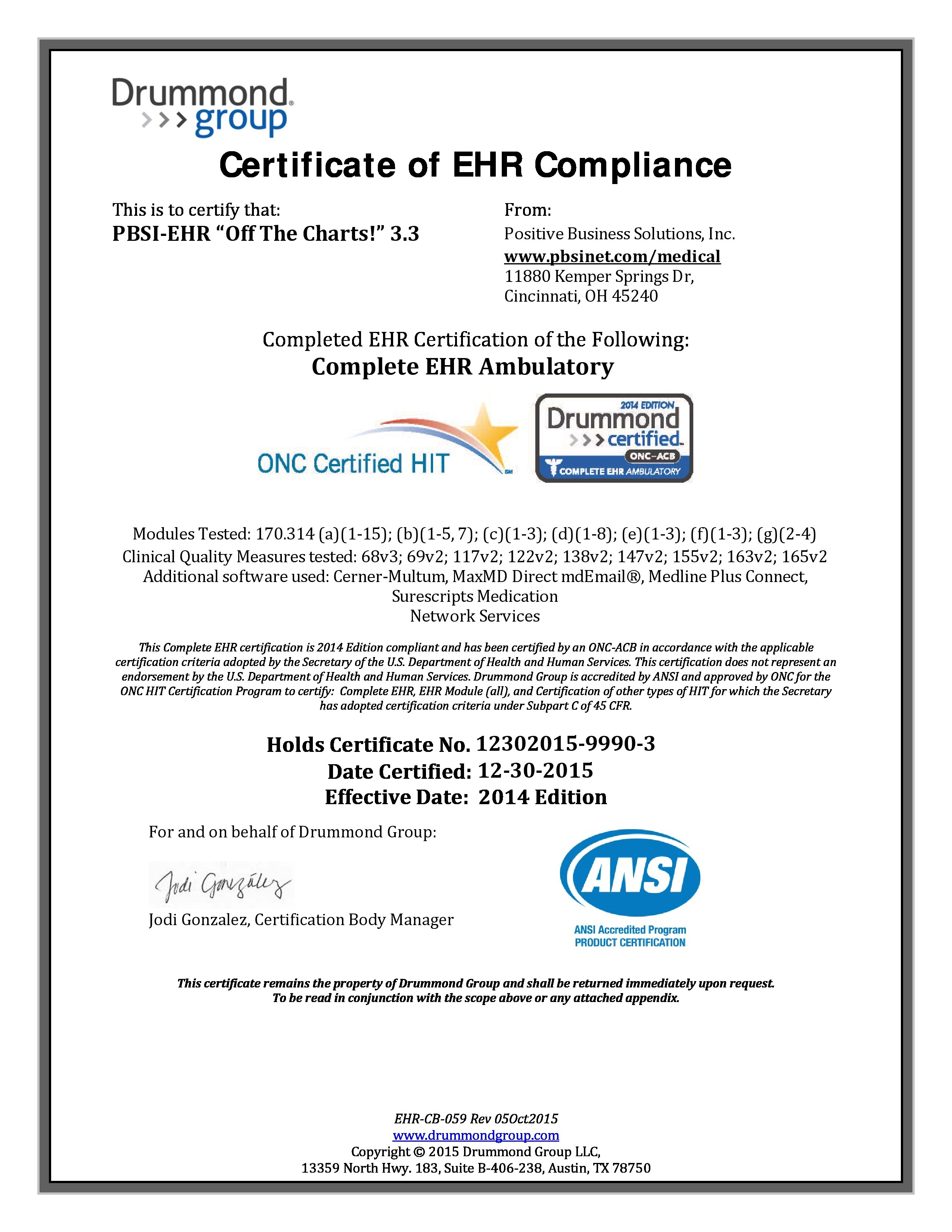 Pbsi positive business solutions medical solutions ehr drummond certified onc atcb 33 xflitez Choice Image